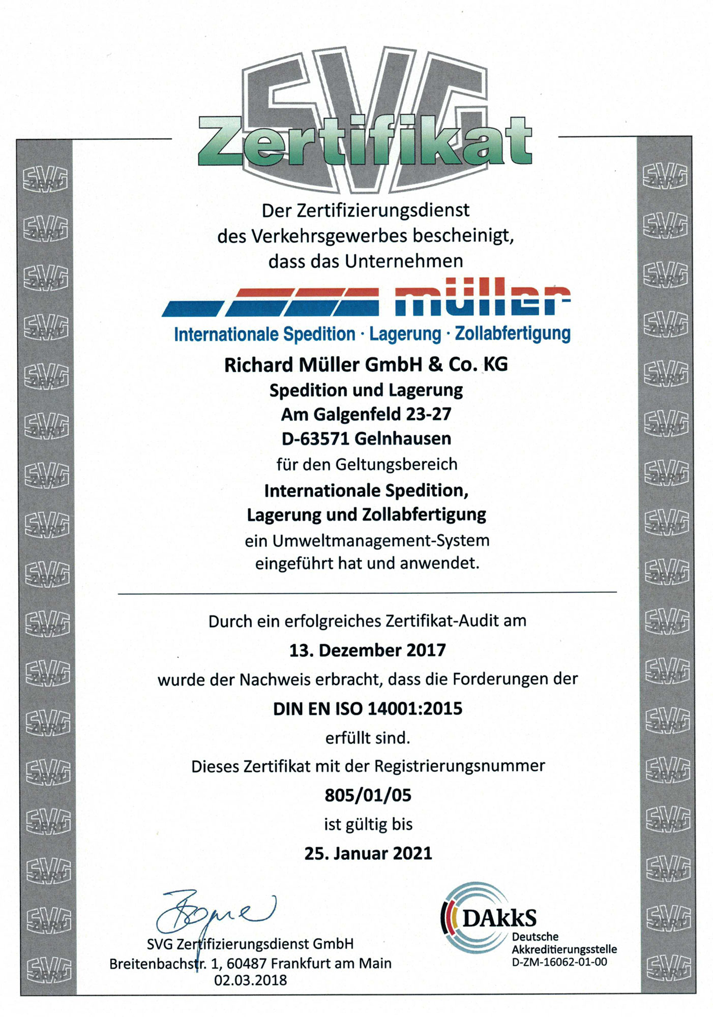 SVG Zertifikat DIN EN ISO 14001