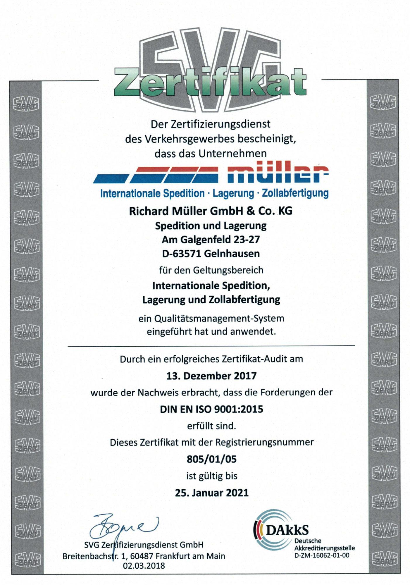 SVG Zertifikat DIN EN ISO 9001